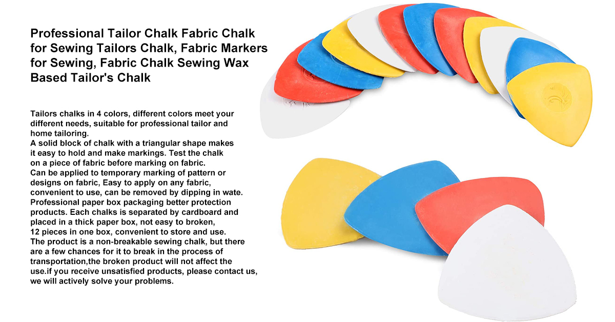 12PCS Professional Tailor Chalk Fabric Chalk for Sewing Tailors Chalk, Fabric Markers for Sewing, Fabric Chalk Sewing Wax Based Tailor's Chalk.jpg