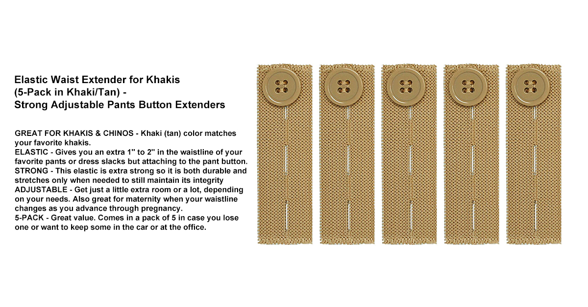 Comfy Clothiers Elastic Waist Extender for Khakis (5-Pack in Khaki_Tan) - Strong Adjustable Pants Button Extenders.jpg
