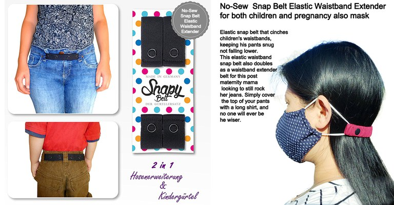 No-Sew  Snap Belt Elastic Waistband Extender for both children and pregnancy also mask.jpg