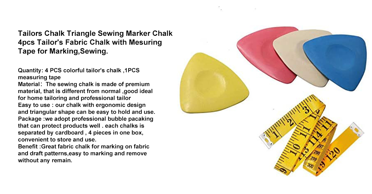 Tailors Chalk Triangle Sewing Marker Chalk 4pcs Tailor's Fabric Chalk with Mesuring Tape for Marking,Sewing_.jpg