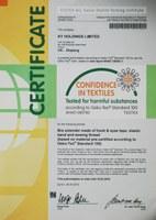 Oeko-Tex standard 100 certificate